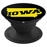 Iowa City Black and Yellow Pop Socket - PopSockets Grip and Stand for Phones and Tablets