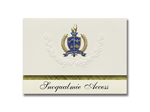 Signature Announcements Snoqualmie Access (Snoqualmie, WA) Graduation Announcements, Presidential style, Elite package of 25 with Gold & Blue Metallic Foil seal