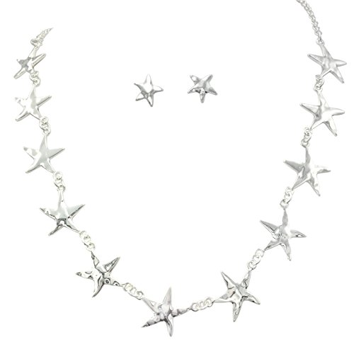 Gypsy Jewels Simple Sealife Nautical Boutique Necklace & Earrings Set (11 Dainty Silver Tone Starfish)
