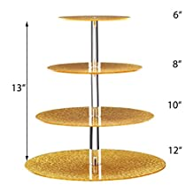 Sumerflos 4 Tier Gold Round Brilliant Golden Acrylic Party Event Cake stand-Dessert Disply Stand-Cupcake Tower Stand-Pastry Serving Platter-For Party Event