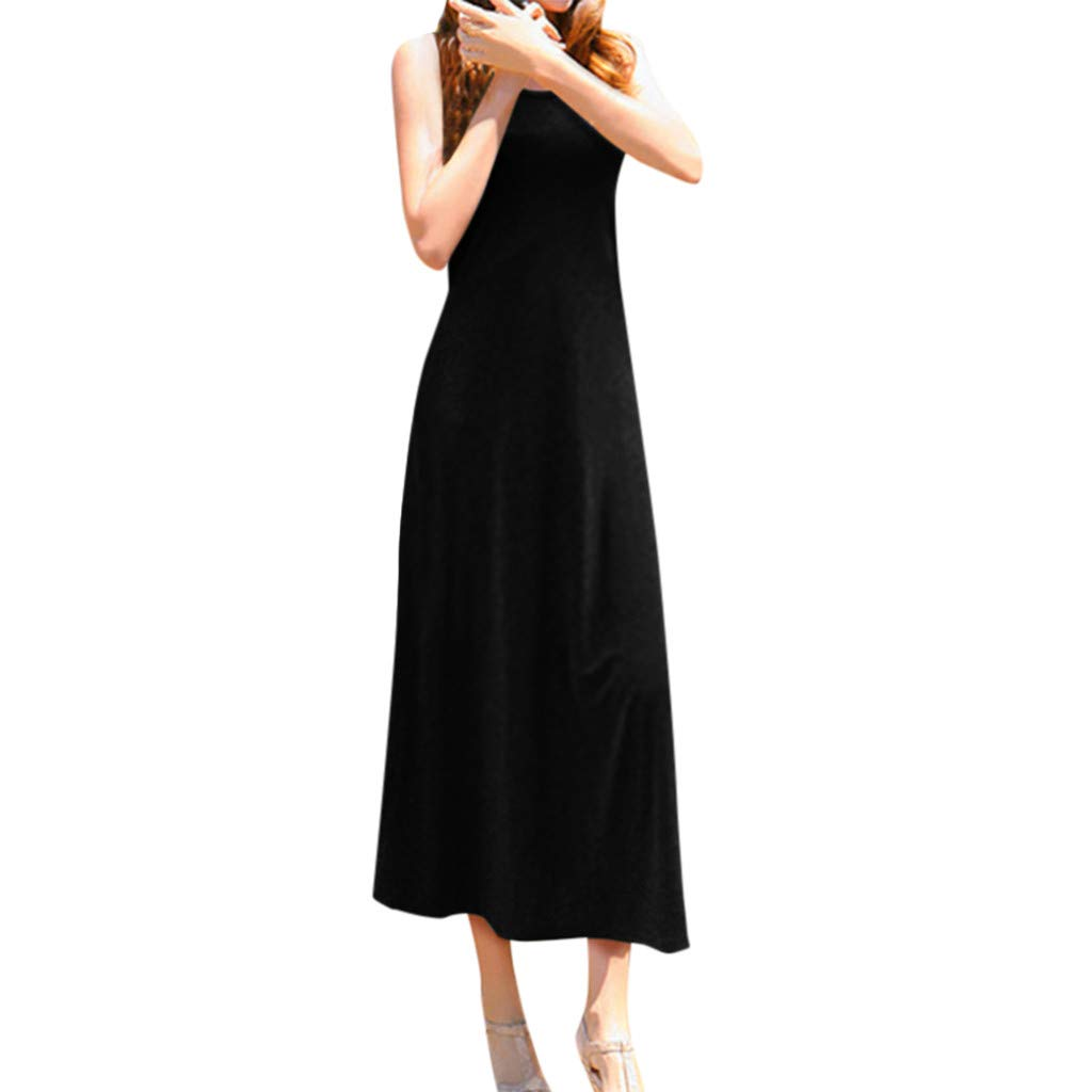 Women Round Neck Sleeveless Dress, Dianli Tank Casual Beach Long Dress Ladies O Neck Solid Color Polyester Dress