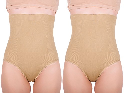 Women's Hi-waist Seamless Firm Control Tummy Slimming Shapewear Panties (X-Large, Nude (2 pack))