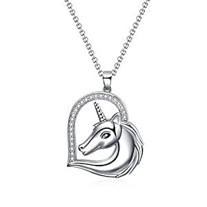 WINNICACA Sterling Silver Cute Unicorn Animal Pendant Necklace Jewelry Gifts for Women Birthday Mother's Day