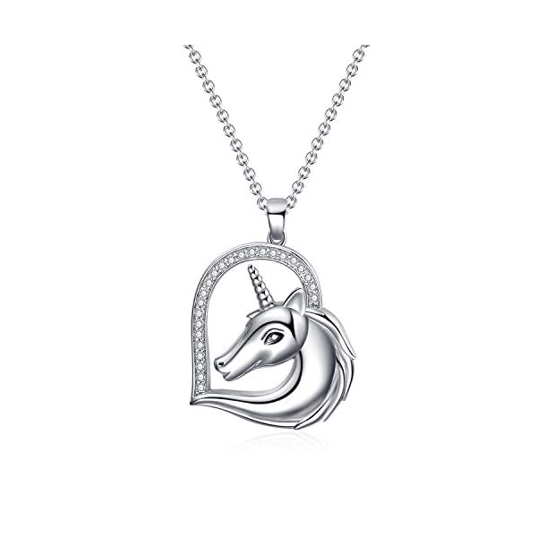 WINNICACA Sterling Silver Heart Unicorn Pendant Necklace Christmas Jewelry Gifts for Women 2