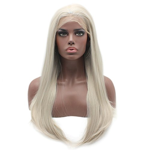 Iewig Synthetic Lace Front Long Straight Grey Wig Half Hand Tied Heat Friendly Wig