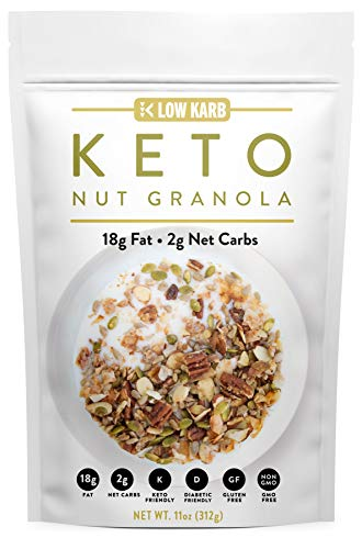 Low Karb - Keto Nut Granola Healthy Breakfast Cereal - Low Carb Snacks & Food - 2g Net Carbs - Almonds, Pecans, Coconut and more (11 oz)