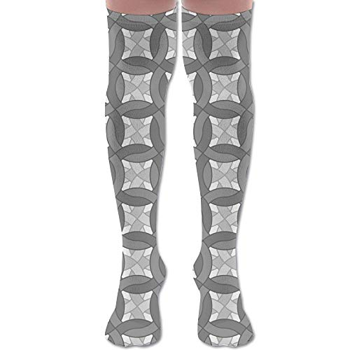 Unisex Chainmail - DFAUHAL Chainmail Double Grey Fabric (3409) Knee High Graduated Compression Socks for Unisex - Best Medical, Nursing, Travel & Flight Socks - Running & Fitness