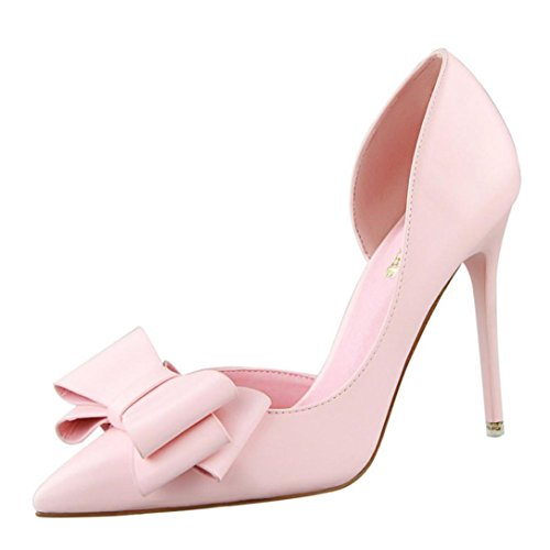 IGEMY Women Pumps Sweet Bowknot High Heels Shoes Sexy Thin Pointed Single Shoes Pink
