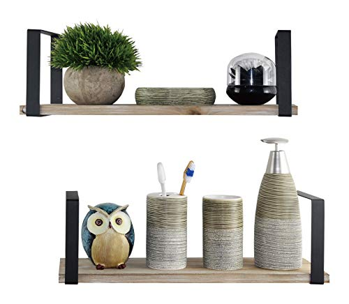 Spiretro Floating Shelves Wall Mounted Set of 2, Rustic Torched Wood & Square Matting Black Metal Bracket to Storage Organize and Display for Living Bedroom Kitchen Bathroom Closet- Farmhouse Grey