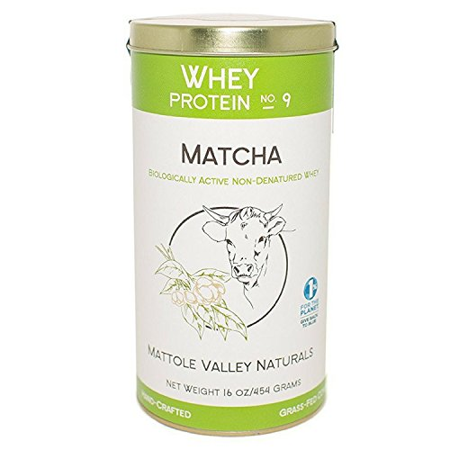 Organic Matcha green tea Whey Protein Powder - Biologically Active - No Antibiotics - Made From Happy Australian Open Pasture Grass fed Cows - Non GMO Certified - Bio Available Vitamin D - 16 ounce