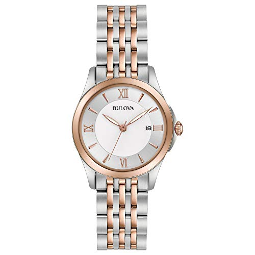 Bulova Women's Analog-Quartz Watch with Stainless-Steel Strap, Multi, 14 (Model: 98M125)