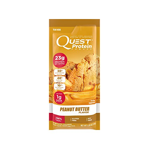 Quest Nutrition Protein Powder, Peanut Butter, 23g Protein, 84% P/Cals, 0g Sugar, 1g Net Carbs, Low Carb, Gluten Free, Soy Free, 1.13oz Packet, 12 Count, Packaging May Vary