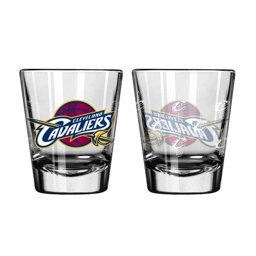 Boelter Brands NBA Cleveland Cavaliers Shot GlassSatin Etch Style 2 Pack, Team Color, One Size Cleveland Cavaliers Nba Pattern