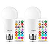 Yangcsl LED Light Bulb 75W Equivalent, RGB Color Changing Light Bulb, 6 Moods - Memory - Sync - Dimmable, A19 E26 Screw Base, Timing Remote Control Included (Pack of 2)