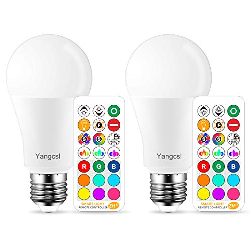 Yangcsl LED Light Bulb 75W Equivalent, RGB Color Changing Light Bulb, 6 Moods - Memory - Sync - Dimmable, A19 E26 Screw Base, Timing Remote Control Included (Pack of 2)]()
