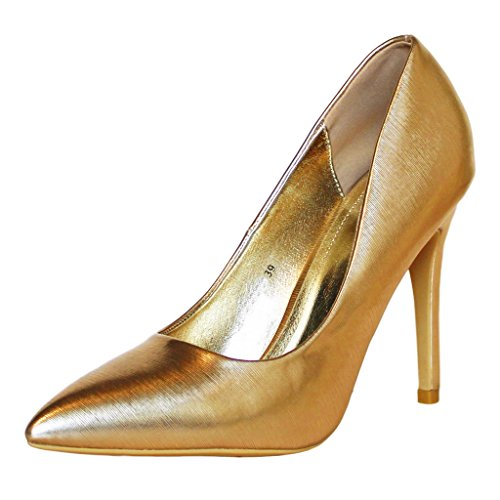 Rock on Styles Ladies Womens Party Prom Bridal Metallic Stiletto High Heel Court Shoes-6689 Gold