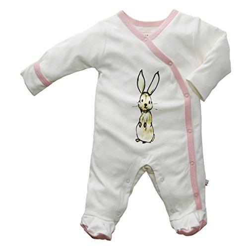 Babysoy Newborn Jane Goodall Endangered Animal Print Long Sleeve Footie Coverall PJS Rabbit/Peony 3-6 Months - Long Sleeve Bamboo Kimono