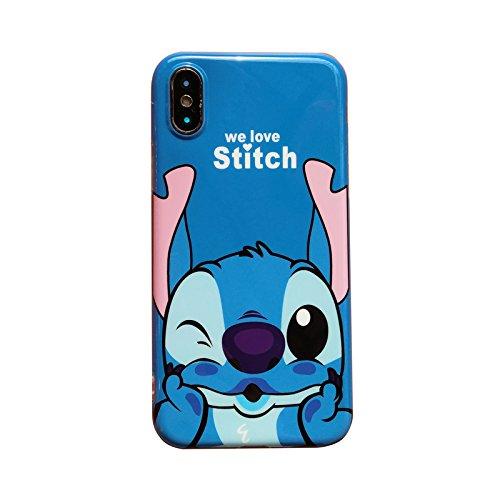 Ultra Slim Soft TPU Blue Stitch Case for iPhone X iPhoneX 2017 Shockproof Shock Proof Sleek Slim Fit Smooth Comfortable Disney Cartoon Cute Chic Lovely High Fashion Stylish Cool Girls Women Teens Kids