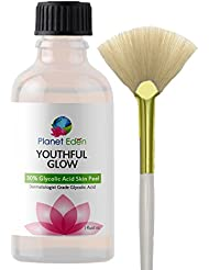Youthful Glow 30% Glycolic Acid Skin Peel with Free Fan Brush for Sun Damage, Freckles, More Even Skin Tone and Free Fan Brush