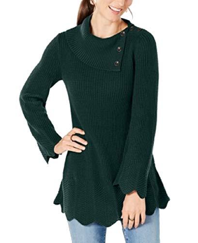 Style & Co. Petites Scallop-Edge Sweater (Deep Pine, P/S)