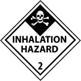 NMC DL105ALV 4'' x 4'' Dot Shipping Label - ''Inhalation Hazard 2'', PS Vinyl, 4 Rolls of 500 pcs