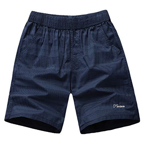iLXHD Men's Beach Shorts Summer Stripe Zip Casual Cotton Sports Shorts Beach Pants Trousers with Pocket Blue ()