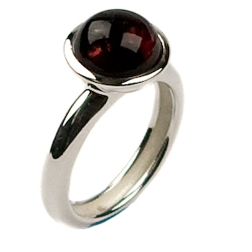 Cherry Amber and Sterling Silver Round Ring Sizes 5,6,7,8,9,10,11,12