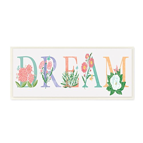 (The Stupell Home Decor Collection Floral Dream Typography Wall Plaque Art, 7 x 17, Multicolor )