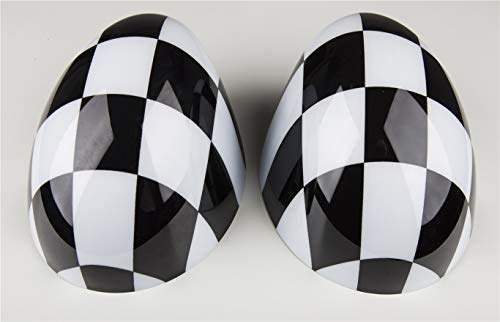 HDX Black White Check Flag Checkered ABS Sticker Cover Trim Cap for Mini Cooper ONE S JCW R Series R60 Countryman R61 Paceman 2010-2016 (Side Wing Mirror Cap with Auto Power Folding)