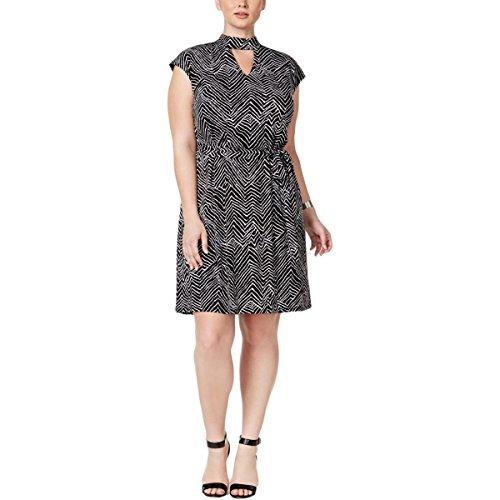 INC Womens Plus Cut-Out Printed Casual Dress B/W 3X