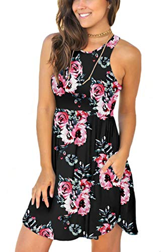 - Women's Sleeveless Summer Floral Print Dresses Casual Short Dress with Pockets Floral Black XX-Large
