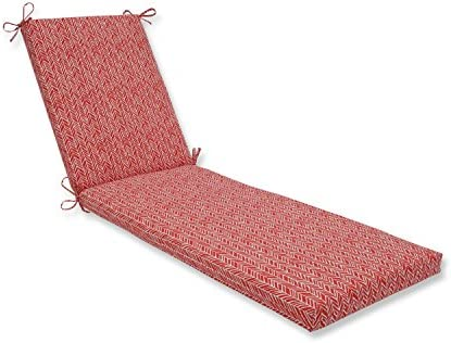 Pillow Perfect Outdoor/Indoor Herringbone Tomato Chaise Lounge Cushion