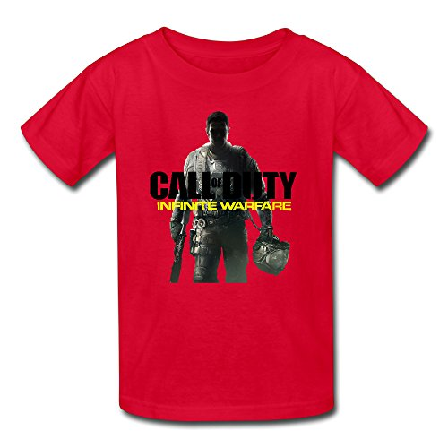 Price comparison product image Call Of Duty Infinite Warfare 2016 Video Game Youth Nerdy Organic Cotton Short Sleeve T-Shirt Red US Size L