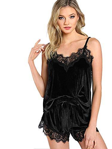 DIDK Women's Lace Trim Velvet Bralette and Shorts Pajama Set Black M Black Lace Trim Short