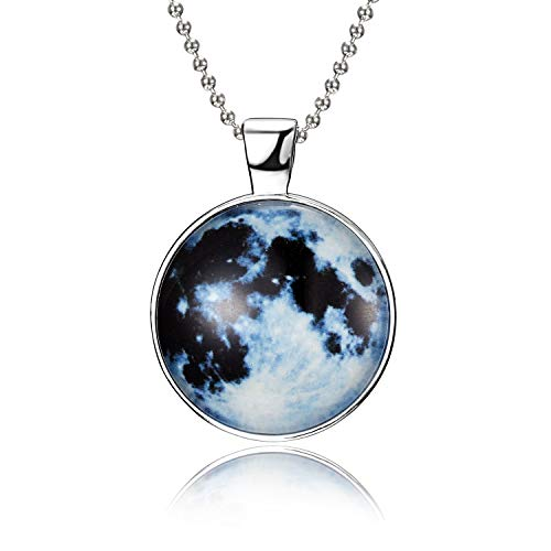 (iDMSON Glow In The Dark Necklace - Magical Fairy Moon Charms Pendant Necklace Bead Chain White Gold Plated Jewelry (Style 7) )