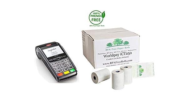 Barclaycard iCT250 cartes bancaires Sans BPa-tout 2 épaisseurs 2 boites de 100 rouleaux de Papier sans BPa, BPC ni BPS: Amazon.es: Oficina y papelería