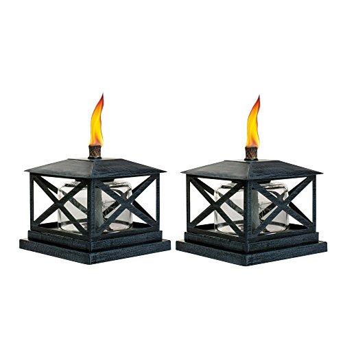 Classic Tiki Torches - TIKI 5.5 in. Petite Lantern Metal Table Torch Black (2-Pack)