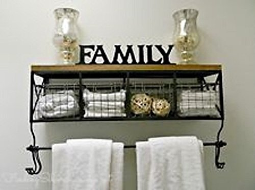 Black Metal & Wood Shelf with Baskets & 8 Hooks Shabby Chic Home Wall Decor Bathroom Wall Valet