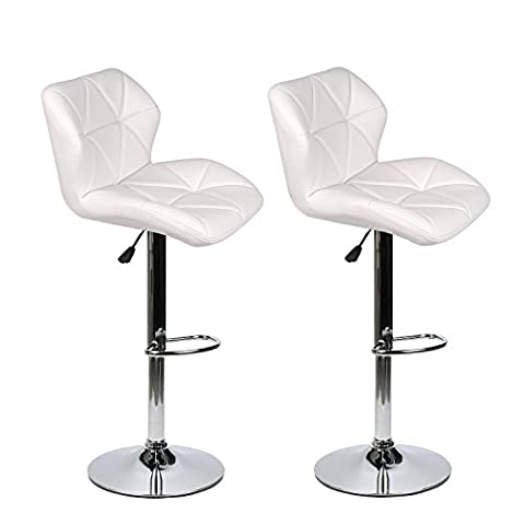 Bar Stools Modern Hydraulic Adjustable Swivel Barstools, Leather Padded with Back, Dinning Chair with Chrome Base, Set of 2, - Chair Chrome Base