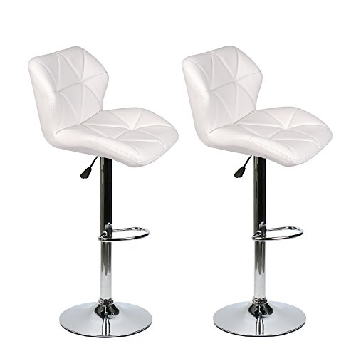 Bar Stools Modern Hydraulic Adjustable Swivel Barstools, Leather Padded with Back, Dinning Chair with Chrome Base, Set of 2, White
