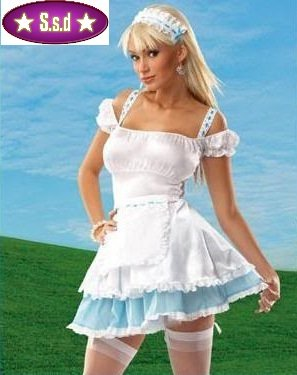 Sexy Milk Maid Fancy Dress Outfit Costume [UK Size 10] White Blue (4  sc 1 st  Amazon UK & Sexy Milk Maid Fancy Dress Outfit Costume [UK Size 10] White Blue (4 ...