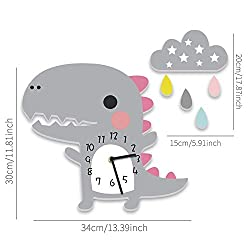 Wenzi-day Wall Clock Decoration for Home Bedroom Vintage Home Wall Decor Wall Clock for Kids Room,Grey