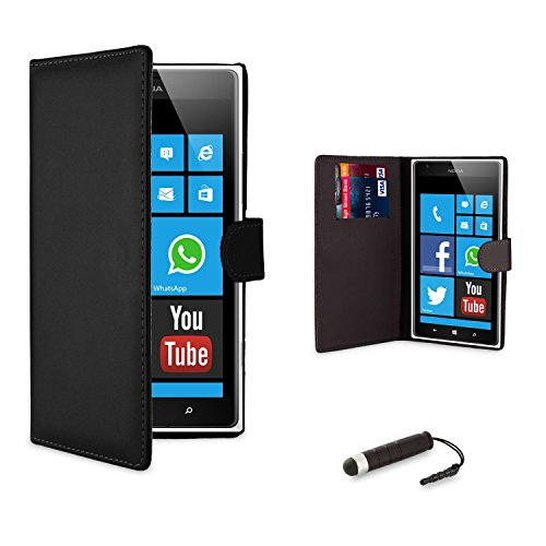 32nd® Book wallet PU leather case cover for Nokia Lumia 620 + screen protector, cleaning cloth and touch stylus - Black
