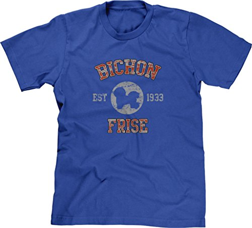 Blittzen Mens T-shirt Bichon Frise Est. 1933, 2XL, Royal Blue