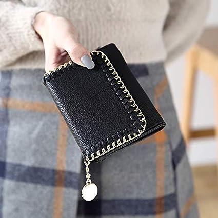 FORTR Home Billetera de la Mujer párrafo Corto de la Moda Japonesa y Coreana Hebilla Billetera