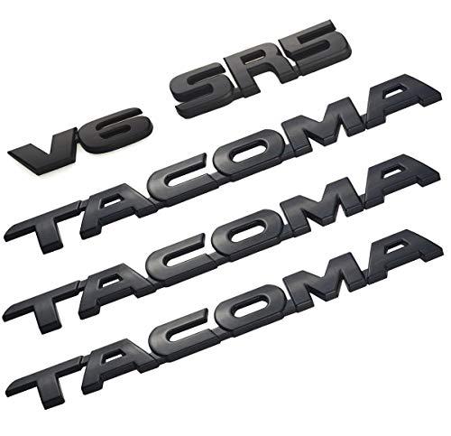 5pcs Sets Tacoma V6 SR5 Trunk Car Door Tailgate Decal Emblem Sticker Badge Replacement for Tacoma 2005-2015 (Black) ()