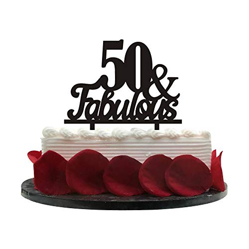 50&Fabulous Birthday Cake Topper | 50th Party Decoration Ideas | Wedding, Birthday, Anniversary, Party Supplies Topper Decoration | Classical Black Acrylic]()