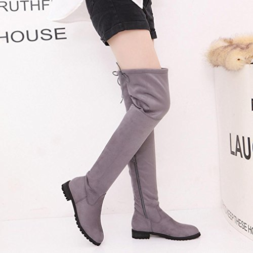 AMA(TM) Women Stretch Faux Slim High Boots Over The Knee Boots Trim Flat Shoes Gray Ll5zz