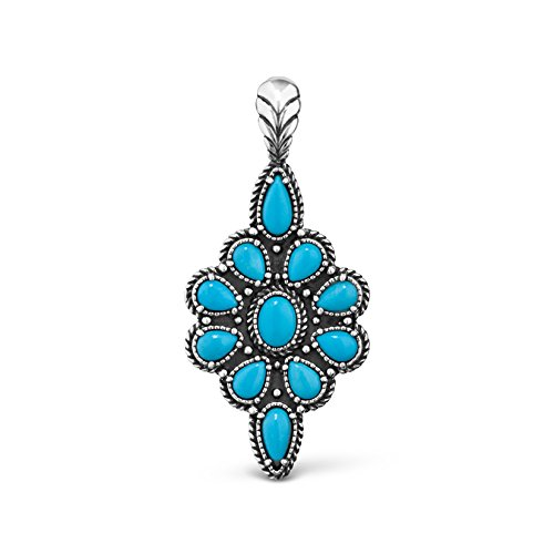 American West Sterling Silver Sleeping Beauty Turquoise Gemstone Cluster Pendant Enhancer ()