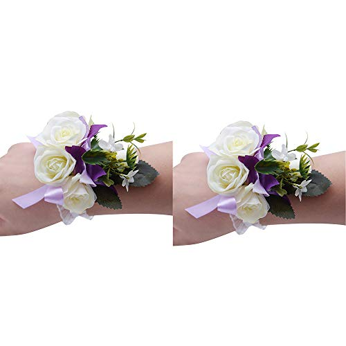 (Florashop Fabric Flowers Wedding Bridal Corsage Bridesmaid Wrist Flower Corsage Flowers Pearl Bead Wristband for Wedding Prom Party Homecoming 2 pcs-Purple Wrist Corsage)